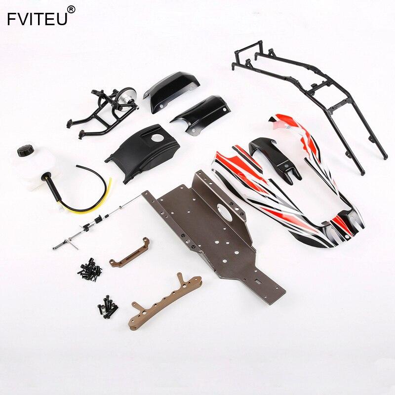 FVITEU Q-BAJA kits réaménagés 2 (pour baja d'origine avec cage en plastique) pour pièces de voiture Rovan RC 1/5