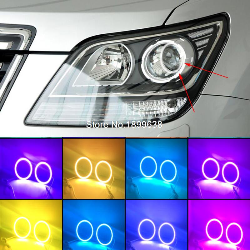 Super bright 7 color RGB LED Angel Eyes Kit with a remote control car styling For Kia Borrego Mohave 2008 2009 2010 4x xenon rgb remote multi color led angel eyes kit for bmw e90 2006 2008 e60