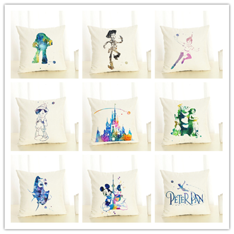 New Cartoon Style Cotton Linen Cushion Cover Dream Color Throw Pillow Care Cartoon characters Chair Cushion Square Cojines