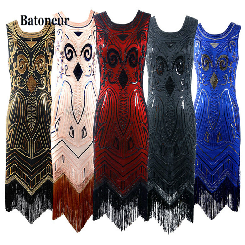 Women Black 1920s Vintage Gatsby Flapper Dress O Neck Sleeveless Art  Nouveau Deco Sequin Beaded Fringe Party Dress Vestido-in Dresses from  Women s Clothing ... ec32b57e466f