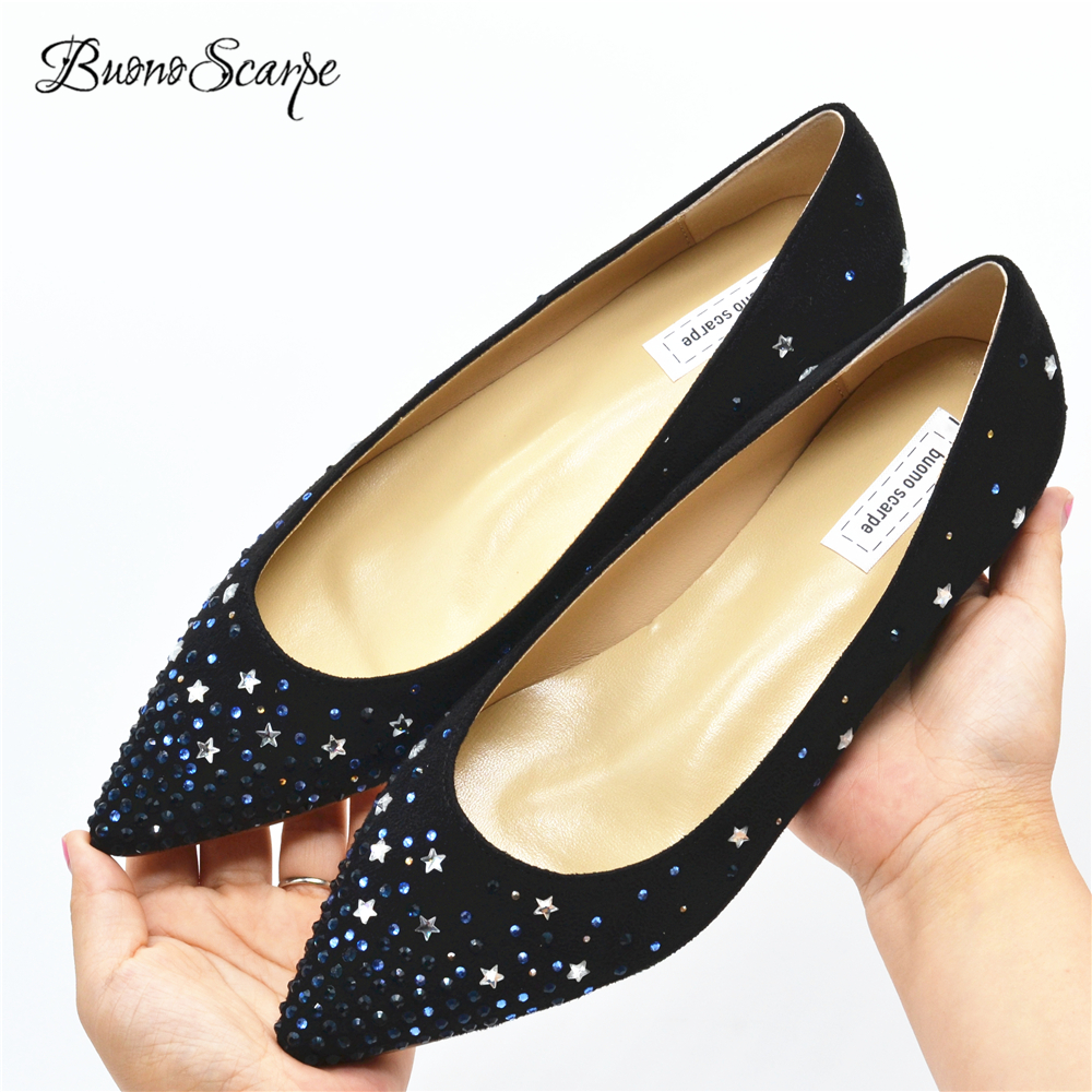 Detail Feedback Questions about BuonoScarpe Crystal Star Shining Flat Shoes  Pointed Toe Strass Single Shoes Women Flat Bling Shoes Suede Black Sexy  Flats ... 2c7aaf31ebd6