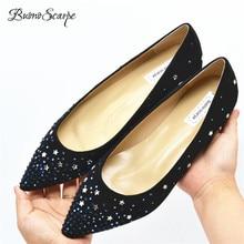 0262496db BuonoScarpe Estrela de Cristal Brilhando Sapatos Baixos Dedo Apontado  Strass Sapatos Único Apartamentos Das Mulheres Que