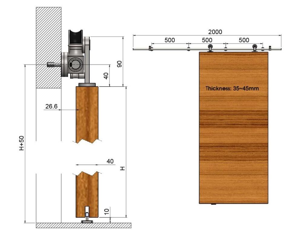 US $199 0 |Diyhd 8ft 12ft Brushed Stainless Steel Double Sliding Barn Wood  Door Hardware Top Mount Safety Pin Wheel Barn Door Sliding kit-in Doors