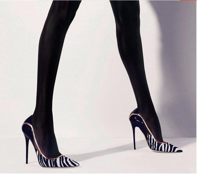 Pompes as Mince As Pic Mode Femme Couleurs Pic Blanc Garniture Or Haute On Slip Talons Mélangées Pointu Bout Noir Cuir Classique Chaussures En 80mnNvw