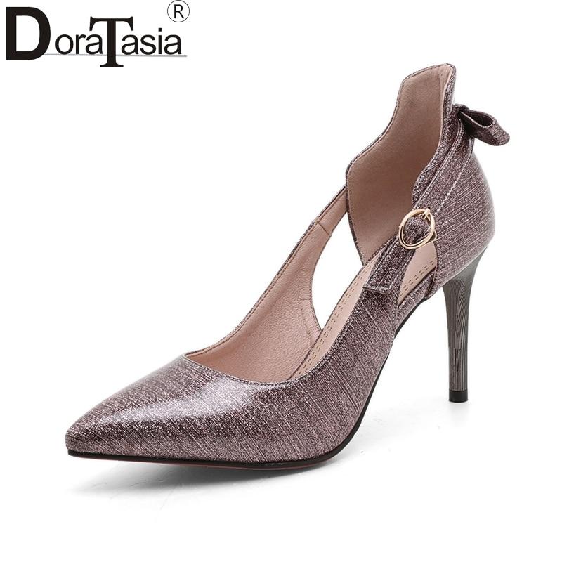 DoraTasia 2018 Nueva gran tamaño 33-43 Bowtie hebilla delgadas - Zapatos de mujer