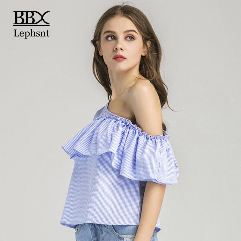 BBXLephsnt cold shoulder tops 2018 summer tops women t shirt casual blue plaid shirt women butterfly sleeve t shirt femme B83004