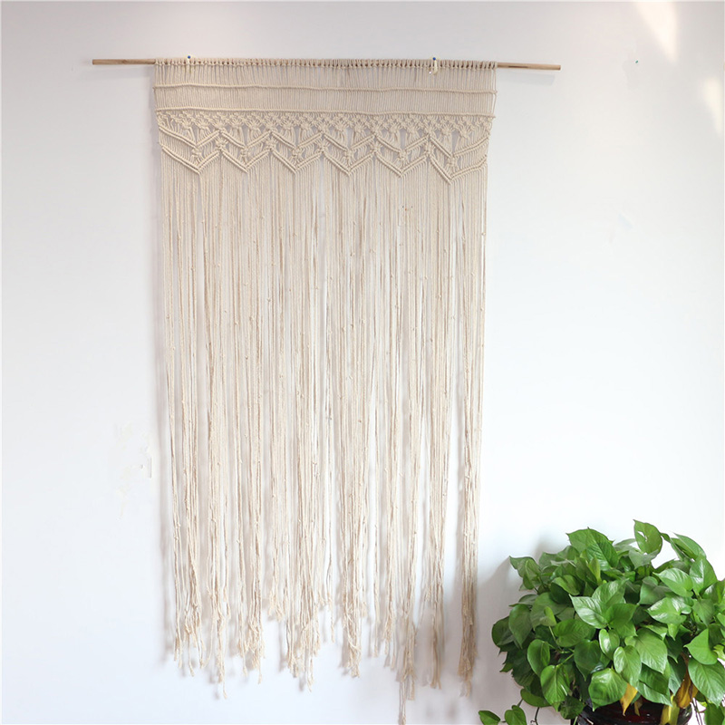 180x90cm Handmade Curtain Cotton Wall Hanging Curtains Decor Macrame Tapestry Art Door Room Divide for Wedding