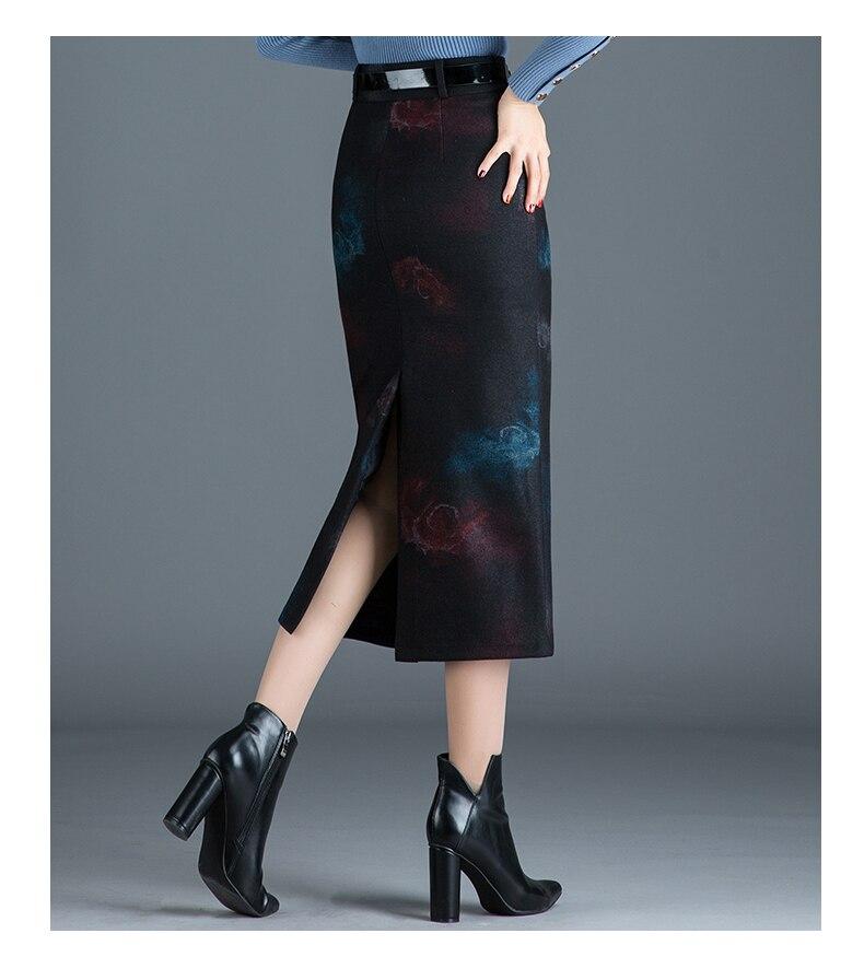 Taille Laine Femmes Jupes Élégant Jupe Floral Hiver Dame De 4xl Longue Pour Couleur Automne Bureau Haute Crayon xvIqtwg