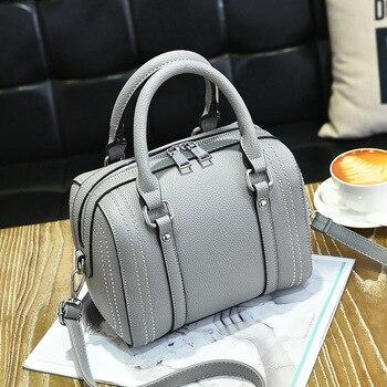 d00f083f8cb8 Женские Модные Натуральная кожаные сумочки Высокое качество плеча CrossBody Сумки  женские сумка заклепки Для женщин сумки сумка