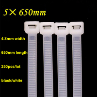 5*650mm Self Lock Type Plastic Nylon Cable Tie National Standard Cable Wire Fixed White/Black Wire Zip lock tie 250pcs/lot