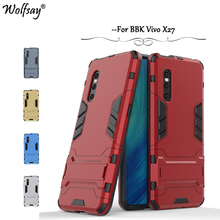 Vivo X27 Case Luxury Robot Armor Rubber Slim Hard PC Phone For BBK Back Cover Kickstand Fundas