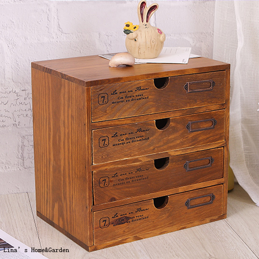Vintage solid wood drawers small pc cabinet in living