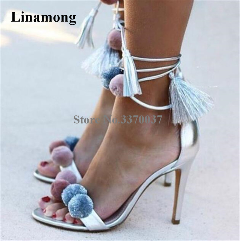 Hot Selling Women Fashion Pom-pom Open Toe Stiletto Heel Sandals Lace-up Silver Gold Colorful Ball High Heel Sandals Dress Shoes bohemian style summer celebrity lace up flat shoes pom poms cute sandals skyblue pink colorful clip toe comfortable dress sandal
