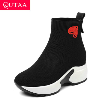QUTAA 2020 Comfort Thick Bottom Autumn Winter Women Shoes Round Toe Height Increasing heart-shaped Socks Ankle Boots Size 34-43 - discount item  47% OFF Women's Shoes