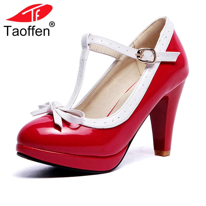 TAOFFEN Plus Size 32-48 mujeres verano tacones zapatos mujer t-correa bombas bowknot señora plataforma diario vestido de trabajo calzado
