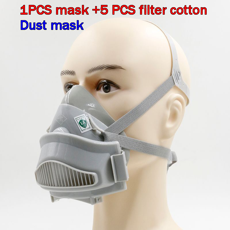 где купить 7772 respirator dust mask white Large size Silicone dust mask PM2.5 dust smoke anti pollution safety protect mask по лучшей цене