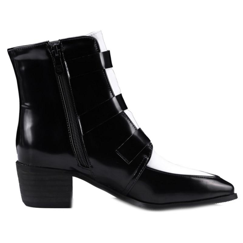 Avec Point Zipper Mode Chunky Court Taille Grande blanc Martin Chaussures Bottes Peluche Couleurs Femmes Cheville Sjjh En Casual Q582 Toe Noir Mélangées EDH29I