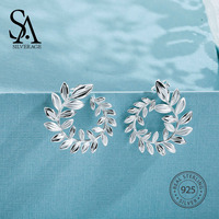 SA SILVERAGE 925 Silver Wicker Stud Earrings for Women Fine Jewelry Big New Silver Earrings Female Trendy Earrings