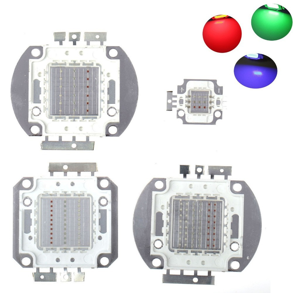 10pcs/lot 10W/20W/30W/50W/90W/100W LED RGB Integrated High Power Lamp bulbs Beads Red Green Blue light Chips for led floodlight