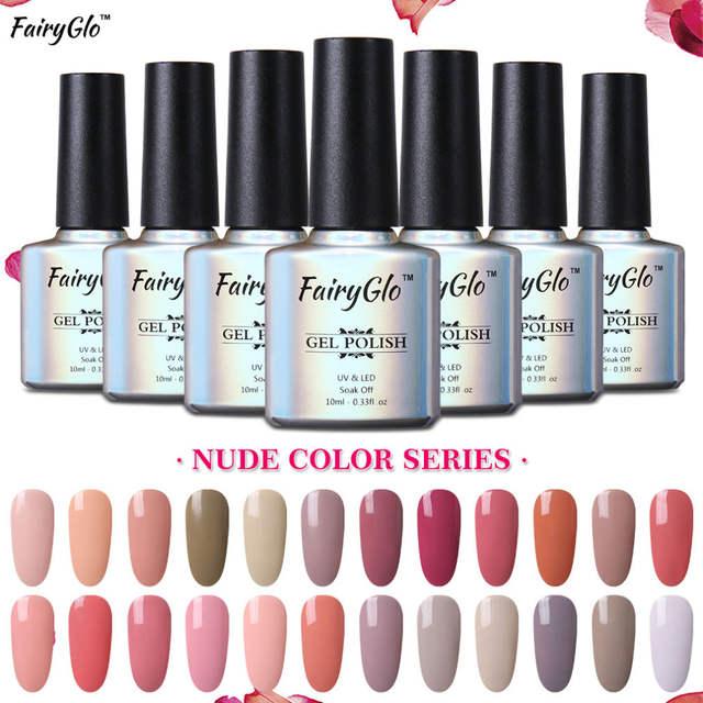 19cbba925 placeholder FairyGlo Nail Gel Polish Set Nude Pink Color Gel Nail Polish  12pcs 1pcs Buffeer File UV