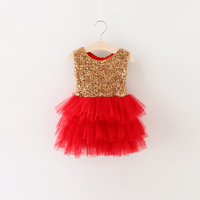 2016 Baby Girl Korean Summer Sleeveless Mesh Dress Sequin Clothes Hot Selling Casual Fairy Tulle Dress