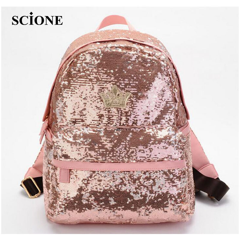 Fashion Crown Embroidered Backpack PU Leather Sequins School Book Bags Casual Small Daypacks Paillette Mochila Travel Bag ZZ472 leather crown повседневные брюки