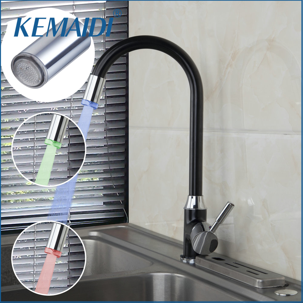 KEMAIDI Hight Quality Kitchen Faucets Mixer Head Changing Glow Shower Head Kitchen Tap Faucet LED Light