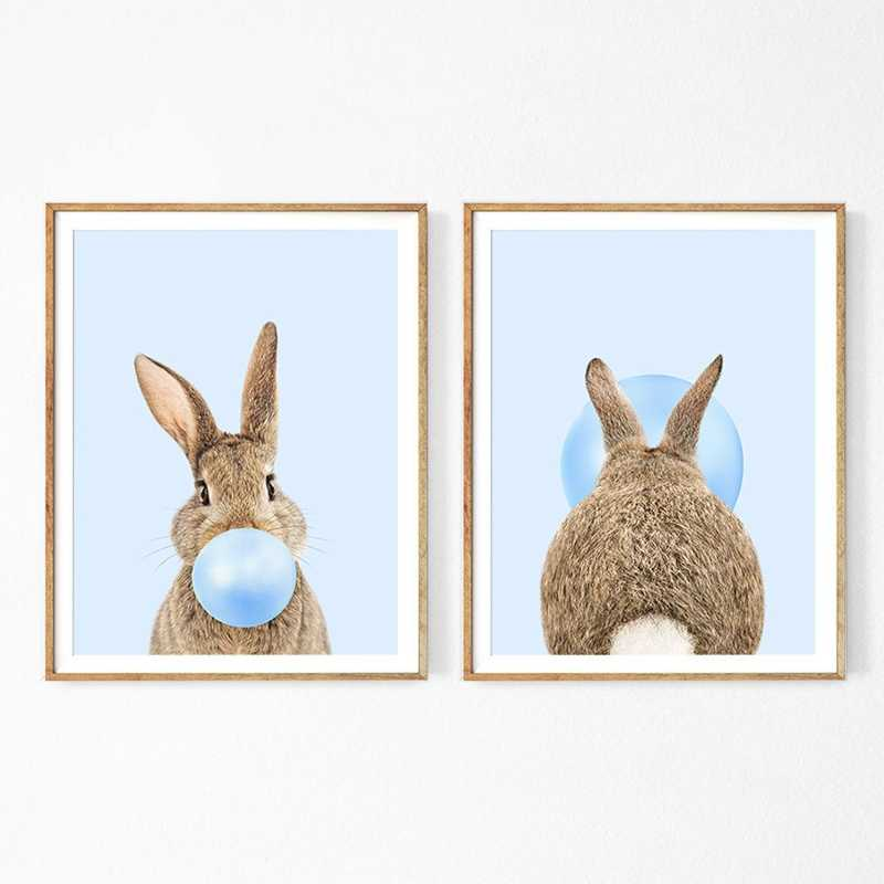 Rabbit Bubble Gum Art Poster Prints Blue Pink Nursery Wall Canvas Paintings Picture Baby Animals Bunny Decor