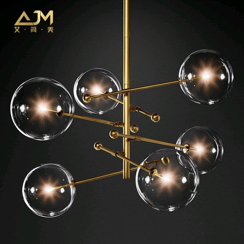 Moderno e minimalista Luzes De Teto Rotativo Lâmpada Led Rodada luzes Bola De Vidro Pendurado Criativo ferro Led G4 lâmpada Interior Home Bar ouro - 3