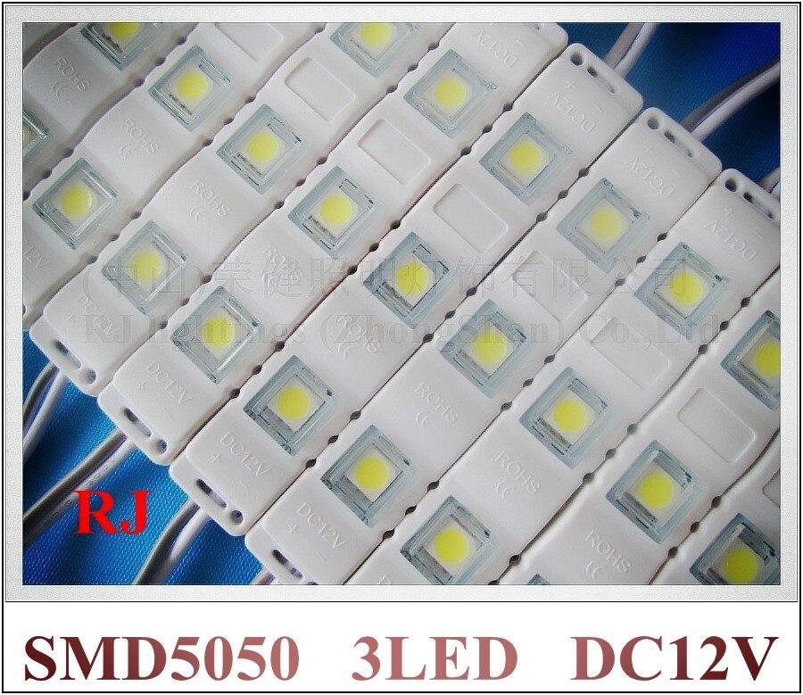 Новый Стиль Инъекций с объективом светодиодный модуль водонепроницаемый SMD 5050 DC12V 3LED используется для освещения коробки PMMA знак буквы блист...