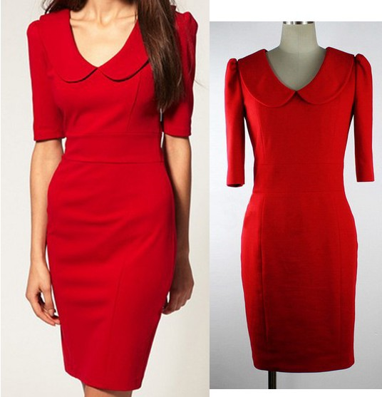 52e32572ed2 2015 Summer Red Office Business Party Bodycon Dress Women Fashion Brief  Casual knee length Elegant dresses Clothing Robes Femme