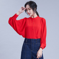 Spring New Arrival Solid Color Lantern Sleeve Stand Collar Women Chiffon Shirt white Loose Red Girls Blouses Ladies Tops Elegant