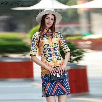 2018 summer chinese vintage elegant women's cheongsam qipao vintage evening formal dress national wind sexy dress Q302