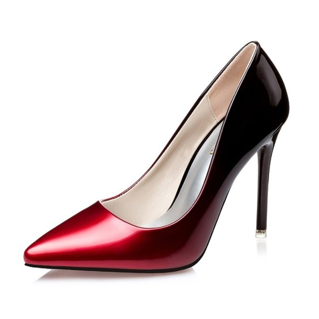 Gradient Color Shallow Mouth Pumps Women Shoes Stilettos Sexy Clubwear Party Patent Leather High Heels Black Silver Rose Pink