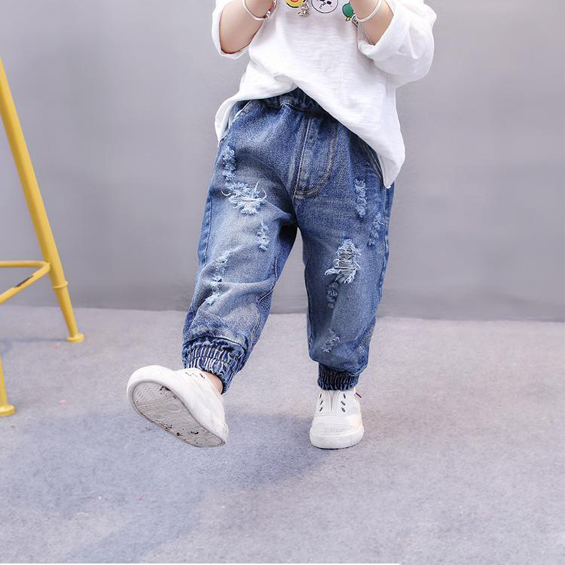 Children Broken Hole Pants Baby Girl Jeans Kids Ripped Denim Trousers boys harem pants children jeans plus size Cave Trousers wholesale 2016 new unique fashion runway hiphop hole wornout ripped girl pants jean destroy womens slim denim jeans trousers