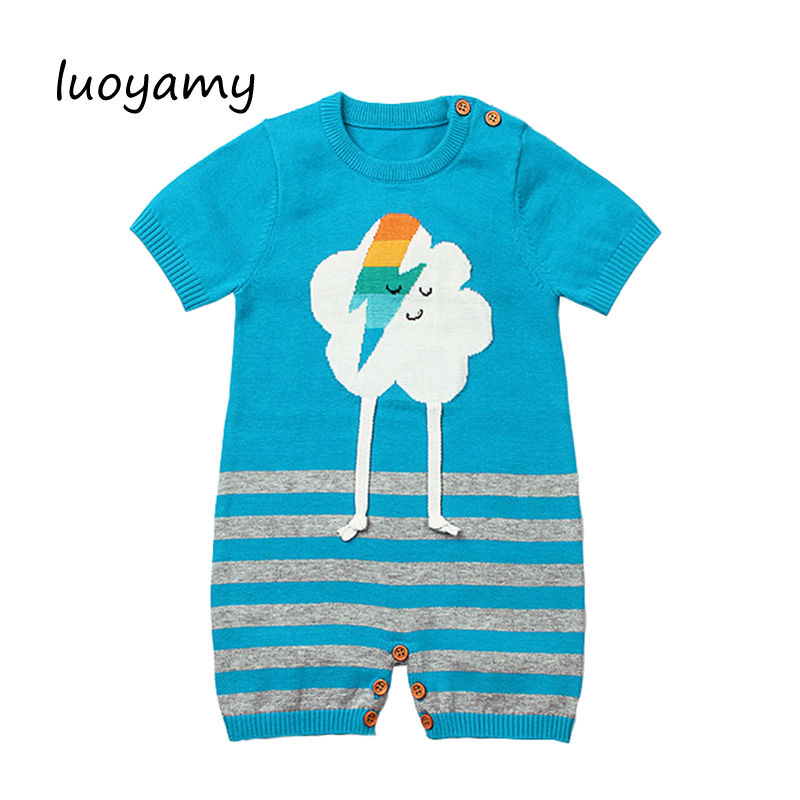 luoyamy Baby Unisex Rompers Adorable Cartoon Cloud Knit Newborn Boys Girls Jumpsuits Outfits Summer Kids One Piece Overalls