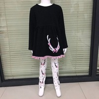Latest Style Girls Fall Boutique Clothing Black White Print Pants Christmas Festival Baby Winter Boutique Clothing