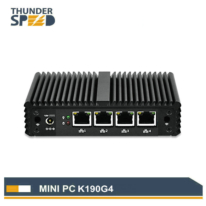 цена на ThunderSpeed Barebone Mini PC J1900 Quad Core NUC 4 LAN Firewall Router Fanless Nano ITX Computer Windows Linux Pfsense OS