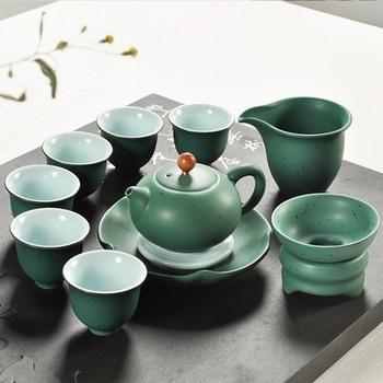 Japanese Kung Fu tea ceramic sets colorful glaze green tea pots cups bowl home Tea table decoration
