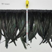 10 yards 30 35cm black Feather Ribbon Dyed Rooster Feather Fringe Trim For Wedding Party Decoration DIY Clothes Accessories