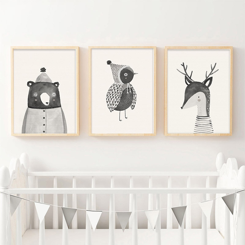 Art Canvas Poster Print Woodland Animal Deer Bear Wall Nordic Posters Nursery for Baby Room Painting Picture Kids Bedroom
