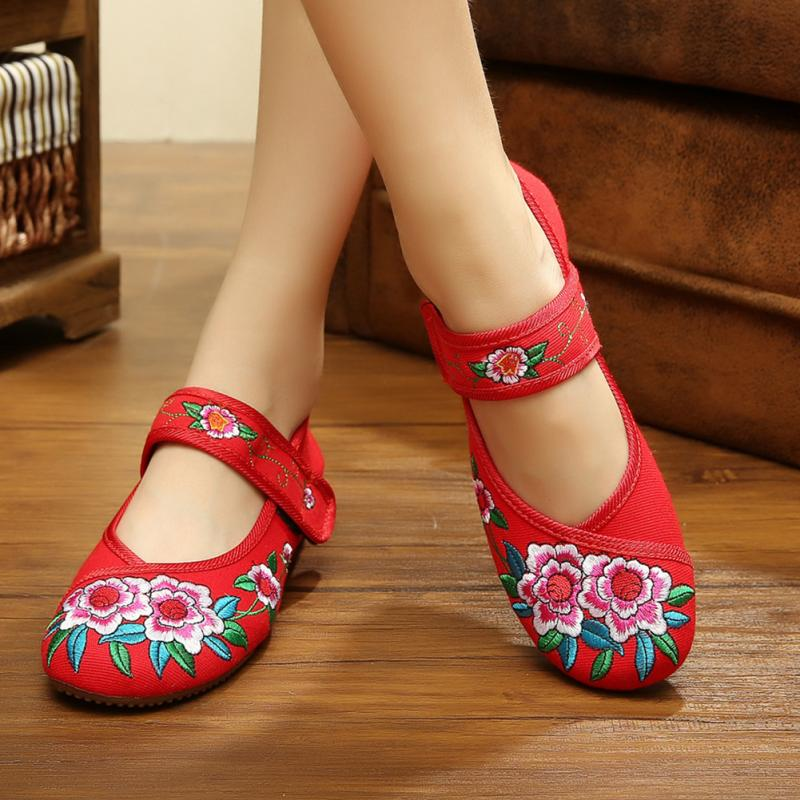 Plus Size 34-41 Fashion Women Shoes, Old Beijing Mary Jane Flats With Casual Shoes, Chinese Style Embroidered Cloth shoes woman women shoes fashion new butterfly chinese traditional style flats flower embroidered casual shoes red green black