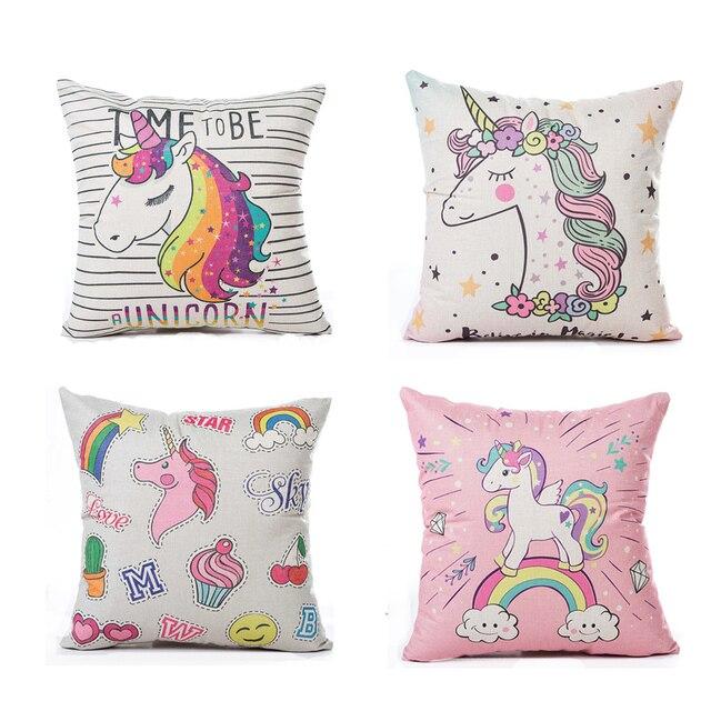 Carino Unicorno Unicorno Cuscino Creativo Cotone Lino Throw Pillow Case For Diva