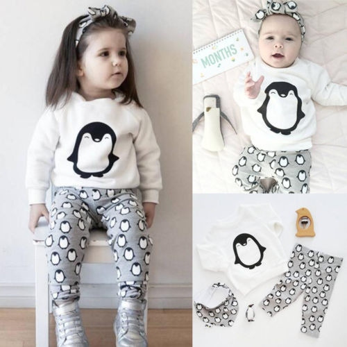 Penguin Toddler Baby Girls Boy Outfits Cothes Long Sleeve Tops T-shirt+Pants 2PCS Kids Clothing Set 0-24M 2pcs set autumn cartoon rabbit toddler baby kid girls long sleeve suit t shirt tops pants costume tracksuit outfits 1 5t