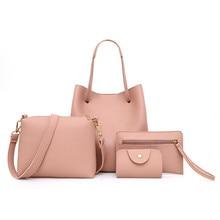 Woman Bag 4Pcs Pattern Leather Handbag+Crossbody purse+Messenger+Card Package la
