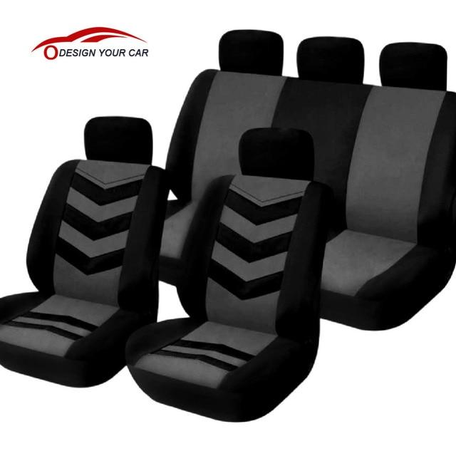 Universal Car Seat Cover Set 9Pcs Covers Front Back Headrest Mesh Black