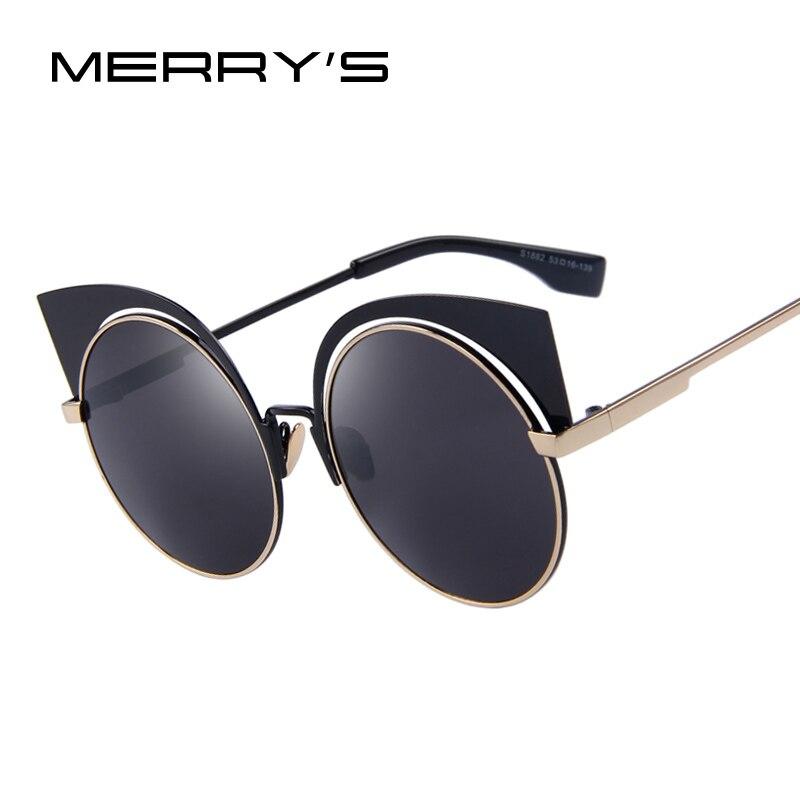 MERRY S Mode Femmes Cat Eye lunettes de Soleil Ronde Alliage Cadre Marque Designer  lunettes de Soleil Classique Shades Oculos de sol UV400 31dbe81488c1
