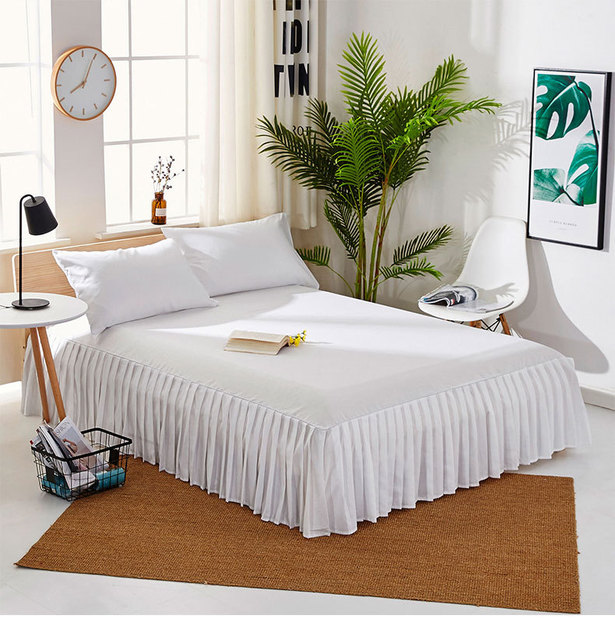 European-style white bed mattress hundreds of pleated sheets bed skirt hotel 1.8m bed sanding with pure color beauty bed cover