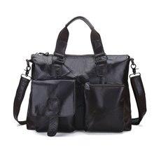 """Dioulaorentou 14 """"натуральная кожа документ портфель ретро мужчины деловые сумки мужские сумки из натуральной кожи коровы сумка для компьютера(China)"""