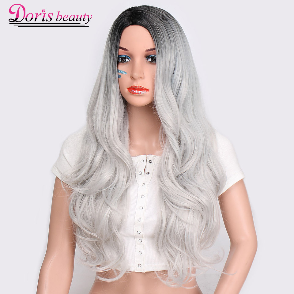 Doris beauty Synthetic Long Wavy Ombre Gray Wig for Woman Cosplay Wig Heat Resistant Fiber ...